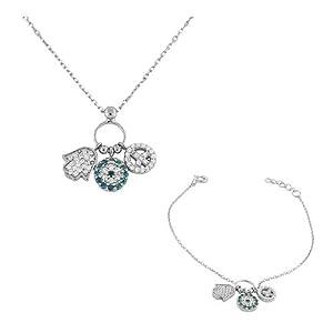 925 Sterling Silver Hamsa Evil Eye Peace Flower White Blue CZ Necklace Bracelet Set