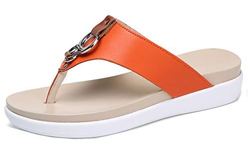 Easemax Simple Mules Flip Femme Plage de Métal Orange Chaussure Flop qSfaTwgq