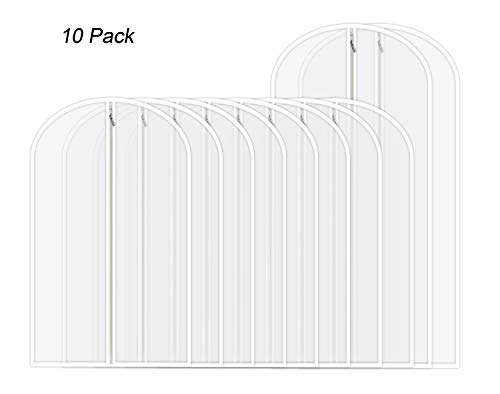 AOFUL Garment Cover Bag, Translucent PEVA Clothes Covers Organizer Storage Pack of 10 (8 Medium + 2 Large) ()