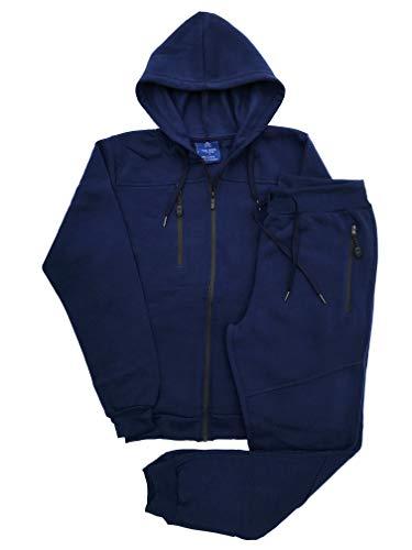 Royal Threads Canada Men's Warm Winter Tech Fleece Sweat Jacket Sweatpants Jogger Outfit (Navy, XL) (Fleece Thread)