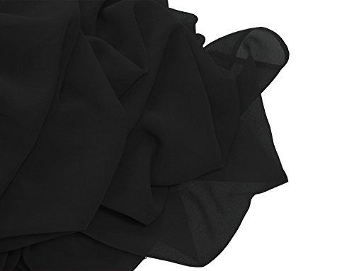 Ssyiz Elegante Plisado Gala Chiffón Mujer de Noche de Vestido(Privado personalizado) negro