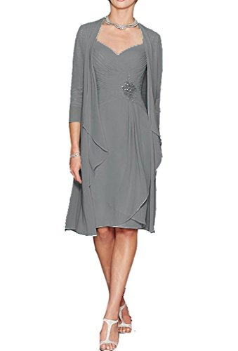 (H.S.D Ladies Column Short Lace&Chiffon Mother of The Bride Gowns with Bolero Grey )