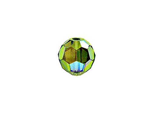 - Swarovski 5000 Round Crystal Faceted Beads Olivine AB | 7mm | Small & Wholesale Packs | Pack of 72