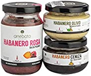 3 pack salsa habanero Arrebato ( Rosa, Olivo y Ceniza )