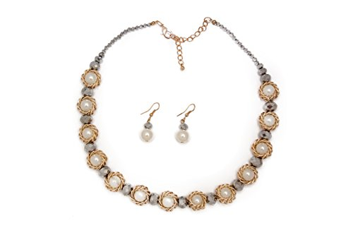 Women Alloy Crystal faux Pearl Flower Bridal Jewelry Necklace and Earring Set. (Faux pear. single)