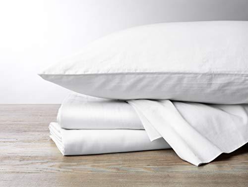COYUCHI 300 TC Organic Sateen Sheet Set, Queen, Alpine White