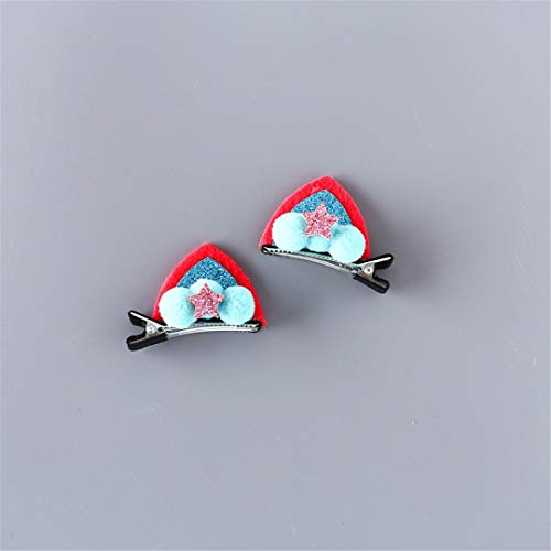 2Pcs/Set Cute Hair Clips For Girls Glitter Rainbow Felt Fabric Flowers Hairpins Cat Ears Bunny Barrettes 19