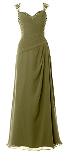 MACloth Women Cap Sleeves Long Mother of Bride Dress Open Back Party Formal Gown Verde Oliva