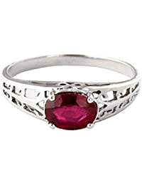 2b3b58f8eb4eec 1.15 ct 14K Solid White Rose Yellow Gold Filigree Solitaire Ring with  Natural Ruby 2330
