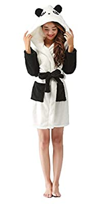 "FOURSTEEDS Women's Winter Faux Fur Fleece Animal Hooded Warm Bathrobe Pajamas Height 55""-70"""