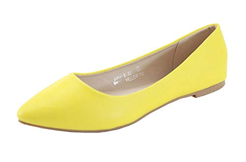 Bella Marie Angie-53 Women's Classic Pointy Toe Ballet Slip On Flats Shoes (8, ()