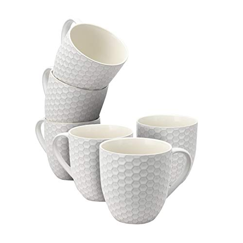 Elama EL-HONEYCOMBWHITE Honeycomb 6-Piece 15 oz. Mug Set, in White, 15oz, ()