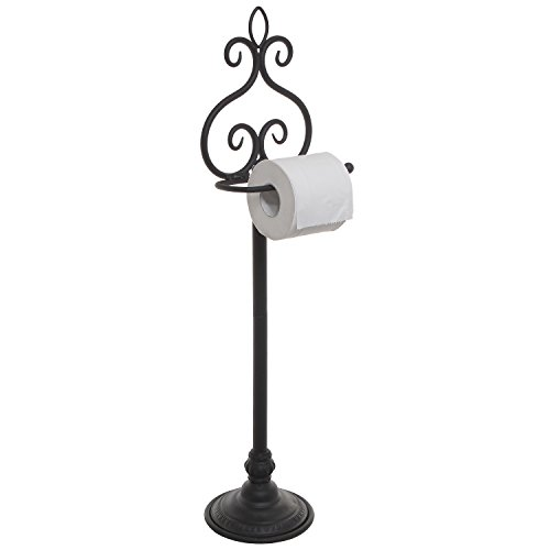 (MyGift Freestanding Black Metal Scrollwork Design Toilet Paper Holder Rack/Hand Towel & Washcloth Bar)
