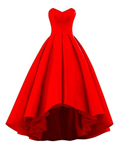 (BRL MALL Hi-Lo Cocktail Party Dress Sweertheart Ball Gown Prom Dress Corset Back Red Ball Gown 22W)
