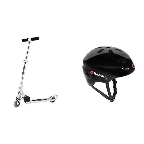 Razor A2 Kick Scooter, Clear w/Black Helmet by Razor