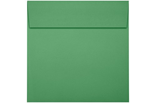 Green Square Photo Card - 5 x 5 Square Envelopes w/Peel & Press - 80lb. Holiday Green (50 Qty.) | Perfect For Thank You Notes, RSVPs, Greeting Cards, Weddings or any Announcement | 80lb Text Paper | 8505-12-50
