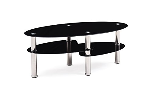 Hodedah Glass Coffee Table, Black (Coffee Tables Black compare prices)