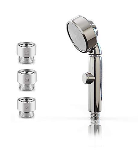 シャワーヘッド 節水 シャワー 手元止水 3D回転機能 逆止弁付き 優し水流 説明書付き 接続アダプター付き 保証書付き