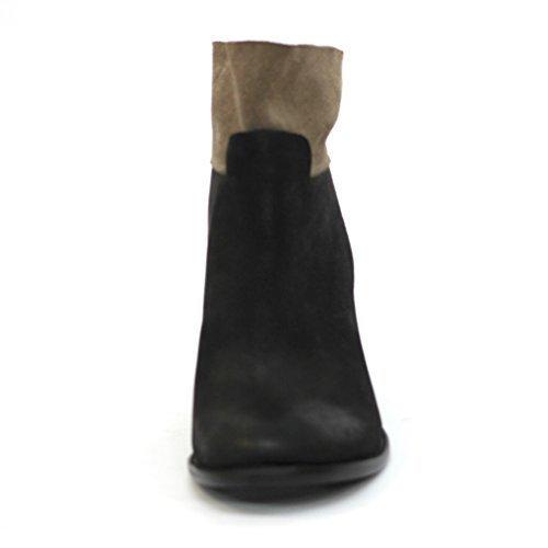 Marca en el talón Lucky bloque de botas de piel de, UK 3, 5, con diseño de Liverpool CLUB £98 negro - marrón oscuro