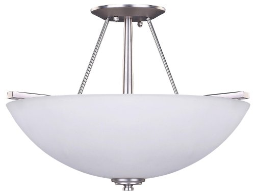 (Canarm ISF256A03BPT New Yorker 3-Light 15-Inch Semi-Flush Fixture, Flat Opal Glass Bowl and Brushed Pewter)