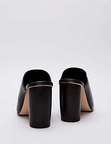 FIND Women's Square Toe Leather Mules Black (Black 001) oIKtRuEv