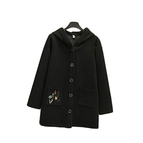 Tamaño Otoño Algodón Suave Jbhurf S color Negro Abrigo De E Mujer Largo Invierno Y Aumento Grueso xqwY6E4wR