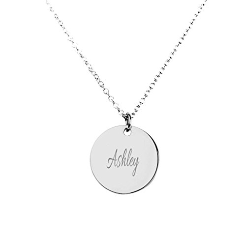 (Silver Personalized Name Disc Pendant with a 16