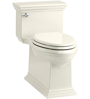 KOHLER K-6428-96 Memoirs Stately Comfort Height Skirted One-Piece Compact Elongated 1.28 GPF Toilet with AquaPiston Flush Technology and Left-Hand Trip Lever, Biscuit