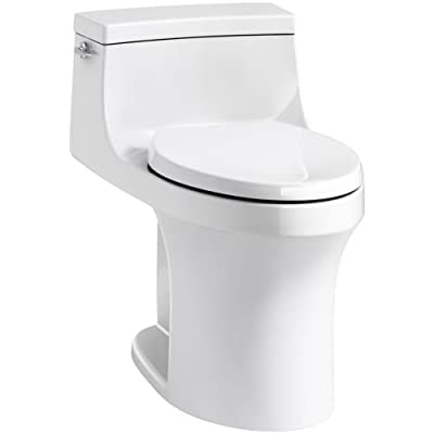 KOHLER San Souci Comfort Height Compact Elongated 1.28 GPF Toilet with Aqua Piston Flushing Technology and Left-Hand Trip Lever