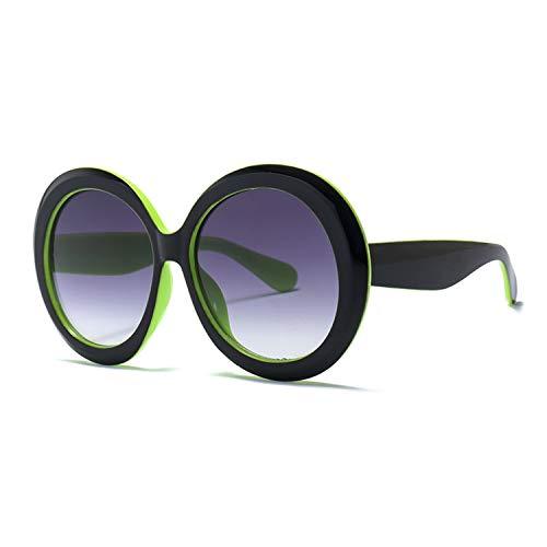 Vintage Big Oversized Round Sunglasses for Women Fashion Black Green Frame Eyewear Retro Sun Glasses Female Shades UV400,4,United ()
