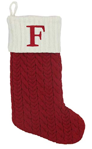 St. Nicholas Square 21-inch Monogram Embroidered Initial Cable Knit Red Christmas Holiday Stocking Letter F