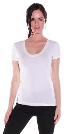 Women's Basic Short Sleeve V-neck Tee Shirt Cotton Blend - Junior and Plus Sizes White Small