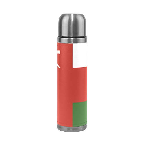 Ainans Oman Flag Double Wall Water Bottle Vacuum Insulated Thermos Flask Genuine Leather Wrapped 13 Oz