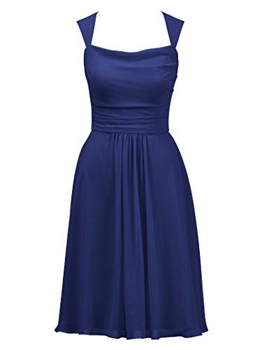 Alicepub Courte Robe De Bal Soirée De Fête Encolure Carrée Robe De Demoiselle D'honneur Pour Les Femmes Bleu Royal
