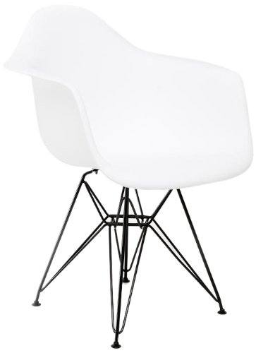 American Atelier White Arm Shell Chair With Black Legs