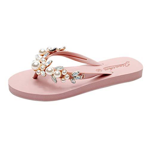 Summer Sandals Simayixx Women Sexy Rhinestone Shoes Pearl Slip-On Slippers Beach Boho Flip Flops Swimming Pool Yoga Shoe ()