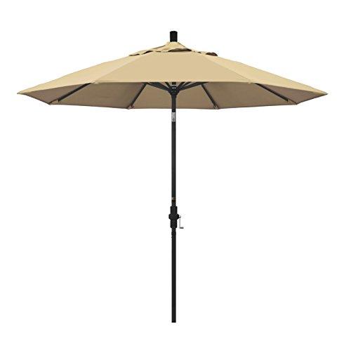 California Umbrella 9 Round Aluminum Market Umbrella, Crank Lift, Collar Tilt, Black Pole, Pacifica Beige
