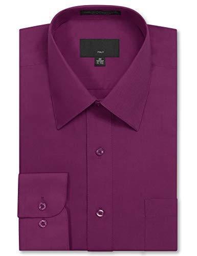 JD Apparel Mens Long Sleeve Regular Fit Solid Dress Shirt 17-17.5 N 34-35 S Wine,X-Large