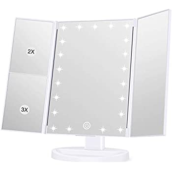 Amazon Com Jerdon Tri Fold Two Sided Lighted Makeup