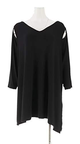 Belle Kim Gravel Knit Top Asymmetrical Hem Black L New A307422 from Belle by Kim Gravel