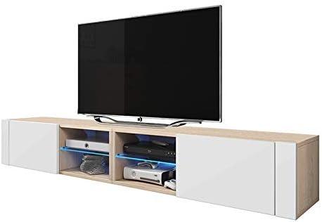 Moderno mueble soporte de TV, elegante, con doble frente brillante (madera de roble Sonoma/blanco brillante con LED): Amazon.es: Hogar