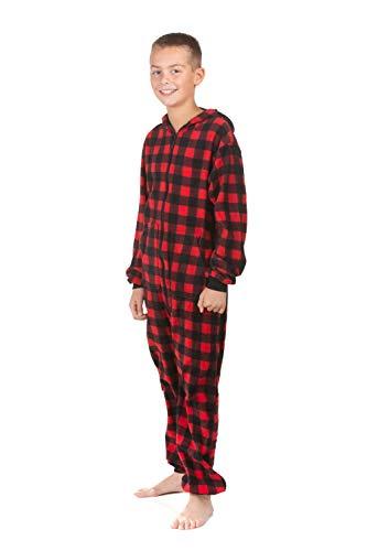 Hoodie Onesie Jumpsuit Pajama in Buffalo Plaid Fleece for Boys & Girls Red, Black ()