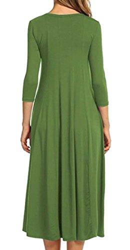 Col Rond De Mode Féminine Domple Plissé Balançoire Solide 3/4 Manches Longues Robe 1