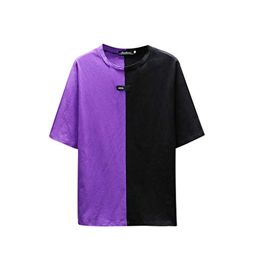 (Toimothcn Men's Men's Casual Colorblock Tee Summer Short Sleeve O-Neck Collision T-Shirt Tops(Purple,L))