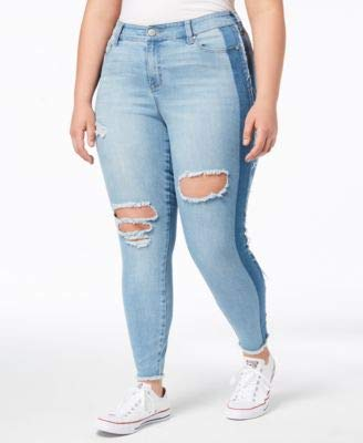 74f8b30376cc Amazon.com: Celebrity Pink Womens Ripped Two Tone Skinny Jeans 22 Plus Light  Blue: Clothing