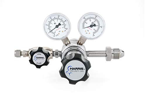 Nitrogen, Helium, Argon specialty gas lab regulator, CGA 580, 2-stage, chrome-plated, 0-50 -