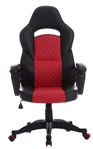- SEATZONE Racing Car Style Bucket Seat Gaming Chair, Executive Swivel Office Chair, Adjustable Computer Chair, Leatherette, Red