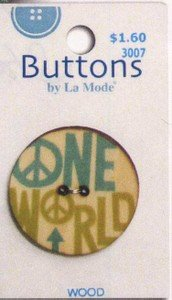 """Used, La Mode """"One World"""" wooden button for sale  Delivered anywhere in USA"""