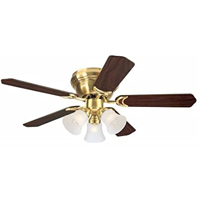 "Westinghouse 7850900 42"" Satin Brass 5-Blade Indoor Ceiling Fan with Lights"