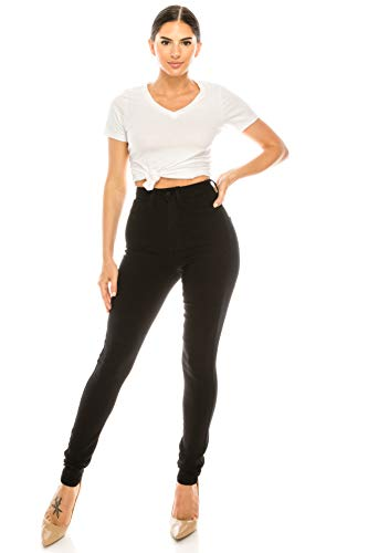Aphrodite Plus Size High Waisted Jeans - High Rise Waist Skinny Womens Jeans with Faux Front Pockets 4263 Black 1XL